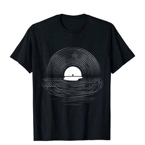 sun set vinyl record shirt
