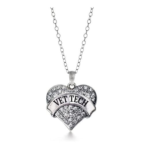 vet tech heart charm necklace