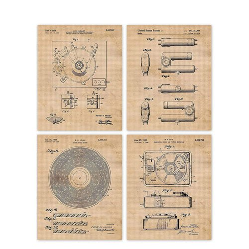 vinyl record player patent poster prints