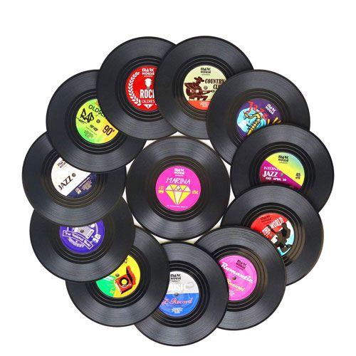 vinyl record coasters set