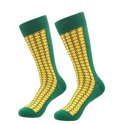corn pattern socks