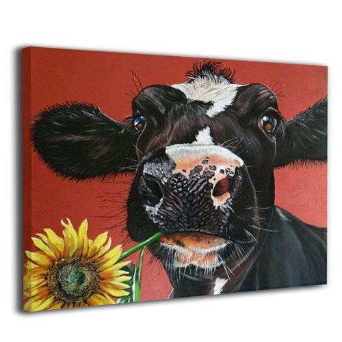 farm cow artwork canvas
