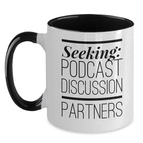podcast discussion partners mug