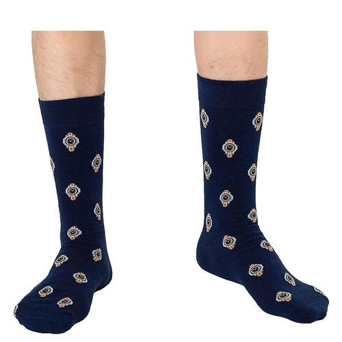 watch pattern socks pair