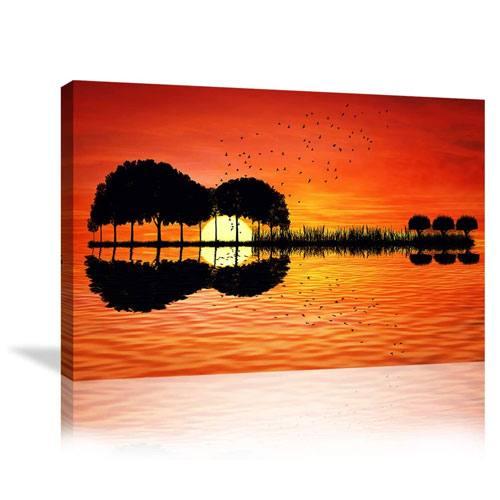 guitar sunset canvas art