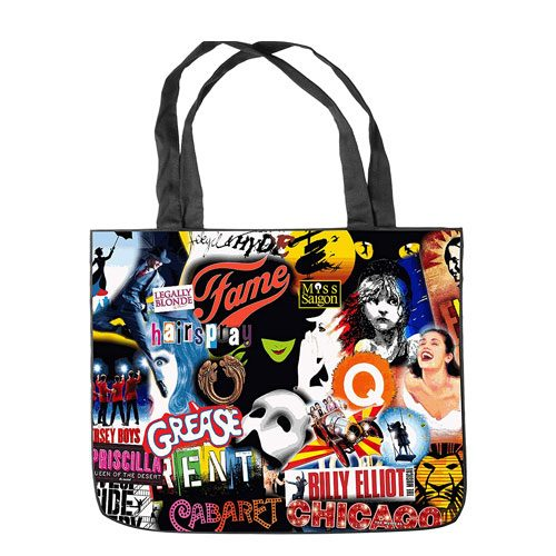 broadway musical collage tote bag