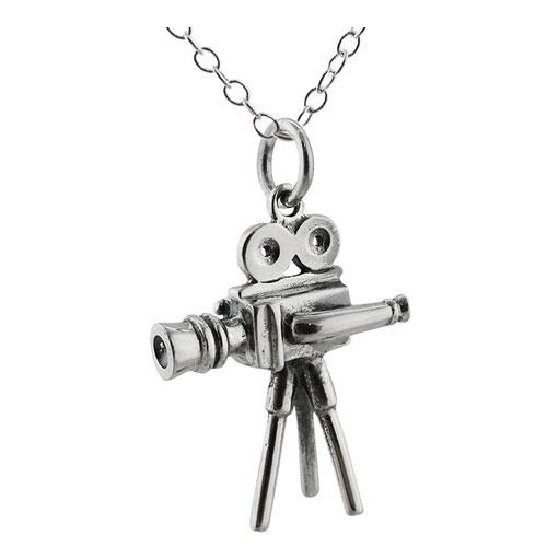 sterling silver movie camera pendant