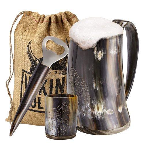viking ox horn mug