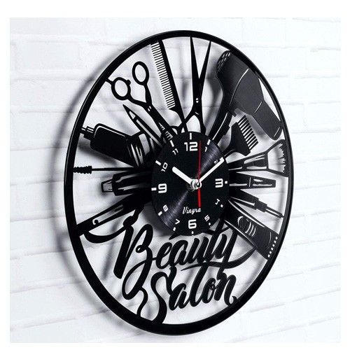 salon vinyl clock